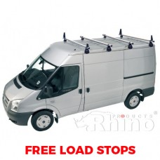 4 x Rhino Delta Roof Bars - Sprinter 2000 - 2006 MWB Low Roof
