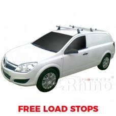2 x Rhino Delta Roof Bars (not for raised roof) - Astra Van 1993 - 2006 SWB Tailgate