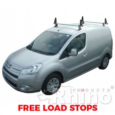 2 x Rhino Delta Roof Bars - Partner 2008 on LWB Twin Doors