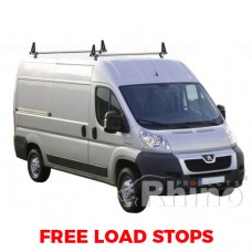 2 x Rhino Delta Roof Bars - Ducato 2006 on LWB High Roof