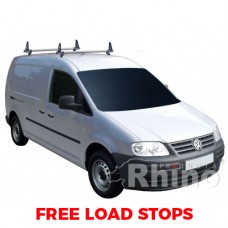 2 x Rhino Delta Roof Bars - Caddy 2015 on LWB Twin Doors Maxi