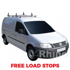 4 x Rhino Delta Roof Bars - Caddy 2015 on LWB Twin Doors Maxi