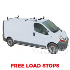 3 x Rhino Delta Roof Bars - Vivaro 2014 on SWB High Roof Twin Doors