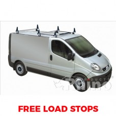3 x Rhino Delta Roof Bars - Vivaro 2002 - 2014 LWB Low Roof Tailgate