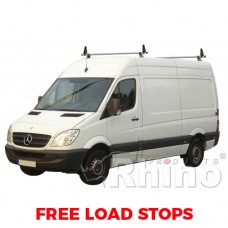 2 x Rhino Delta Roof Bars - Sprinter 2006 on SWB Low Roof