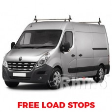 2 x Rhino Delta Roof Bars - Movano 2010 on LWB (Med Roof) L3 H2