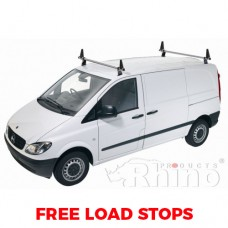 2 x Rhino Delta Roof Bars - Vito 2015 on Compact Low Roof Twin Doors