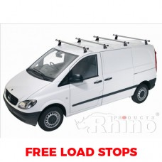 4 x Rhino Delta Roof Bars - Vito 2015 on Compact Low Roof Twin Doors